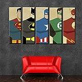 ZEMER 5 Stück Leinwanddrucke Wandkunst, Comics Superhelden Poster Und Drucke, Home Kinderzimmer Hintergrund Persönlichkeit Mode Malerei (Rahmenlos)