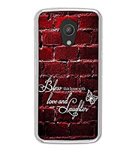 Fuson Designer Back Case Cover for Motorola Moto G2 :: Motorola Moto G (2nd Gen) (love and laughter wall bricks butterfly)