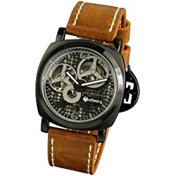 INFANTRY® Mens Mechanical Watch Skeleton Black Dial Stainless Steel Brown Leather Strap