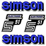 SET: Aufkleber Klebefolie - Blau - für SIMSON S51 ELEKTRONIK - Seitendeckel & Tank