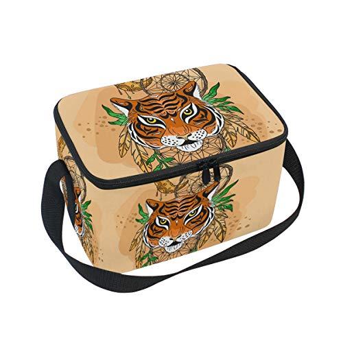 Ahomy Bolsa de Almuerzo aislada con diseño de Tigre atrapasueños, Ideal para la Escuela al Aire Libre, la Oficina, el Almuerzo, para niños y Adultos