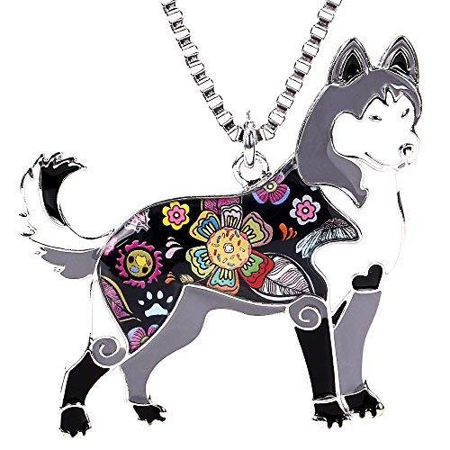 Marte&Joven Siberian Husky Halskette für Frauen Personalisierte Hund Anhänger und Charms Emaille Geschenke Schmuck