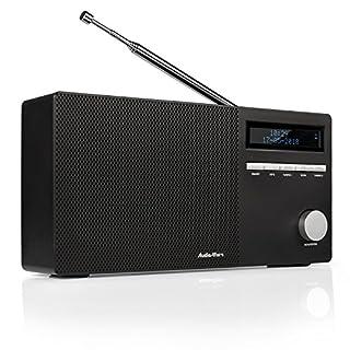 AudioAffairs DAB 010 BK DAB+ Digital Radio (Bluetooth Lautsprecher und Akku, FM/UKW mit LCD Display und SD-Kartenslot, tragbares Design mit Aux in & Out)