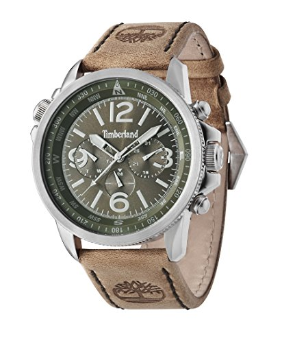 Timberland Campton Men's Quartz Watch with Green Dial Chronograph Display and Brown Leather Strap 13910JS/19