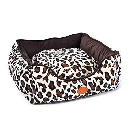 TräumSchön Edles Hundebett Leopard - Hochwertiges waschbares Hundekissen - optimaler Hundekorb für Kleine Hunde und Mittlere Hunde - Katzenbett -
