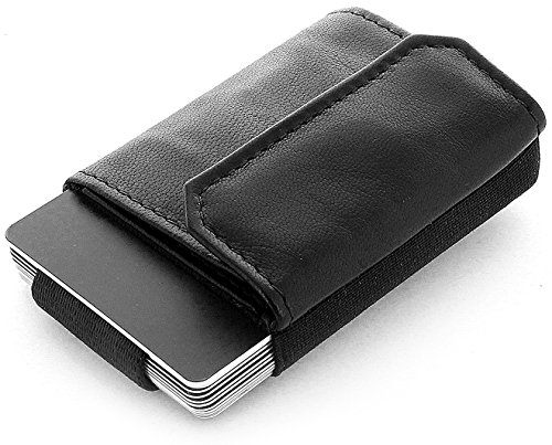 Geld Clip Card Wallet (JAIMIE JACOBS Minimalist Wallet Nano Boy Pocket Mini Geldbörse aus Textil mit Zugband schmaler Kartenhalter für Herren und Damen (Schwarz))