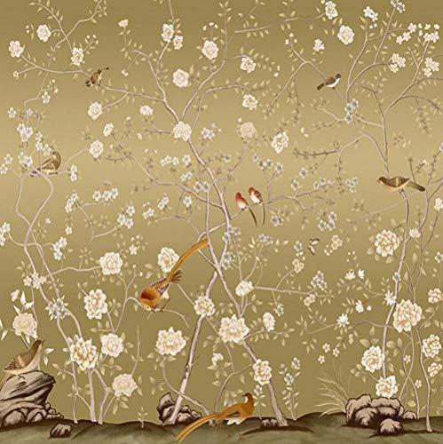 WEILAIWUWEI 3D Tapete Wandtattoo, Prämie Seidentuch Selbstklebende Tapeten, Moderne Wanddeko Design Fototapete, Blühender Vogel Der Europäischen Art 3D, 300x210cm
