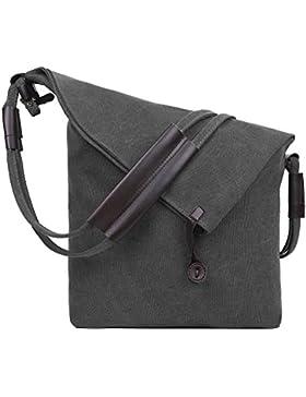 EGOGO Canvas Tasche Damen Schultertasche Messenger Bag Frauen Männer Umhängetasche für Schule Reisen Arbeit und...
