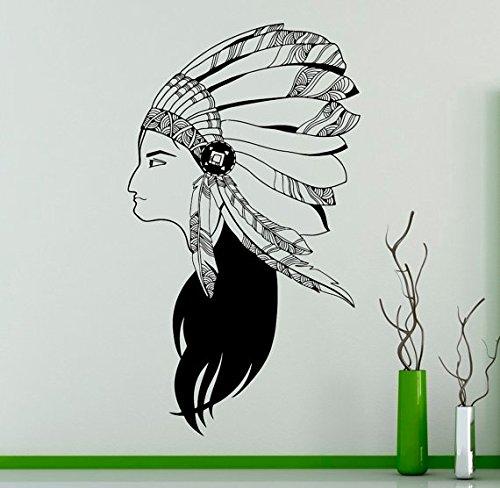 Indian Wildlife Style Mädchen mit Federn Hut Wandbild Indianer Frau Kunst Design spezielle Wandtattoo Home Decor 42x66 cm - Für Indian Mädchen Hut