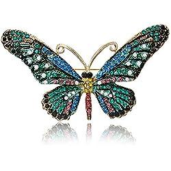 Funnyrunstore Gran Mariposa Forma Vestido Clip Exquisito Chica Bufandas Moda Broche Pin Simple Señoras Joyería Declaración (Azul)