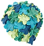 Aqua Speed BLOOM Damen Retro Badekappe (70er Jahre Blumen Latex Gummi) (Blue 7)