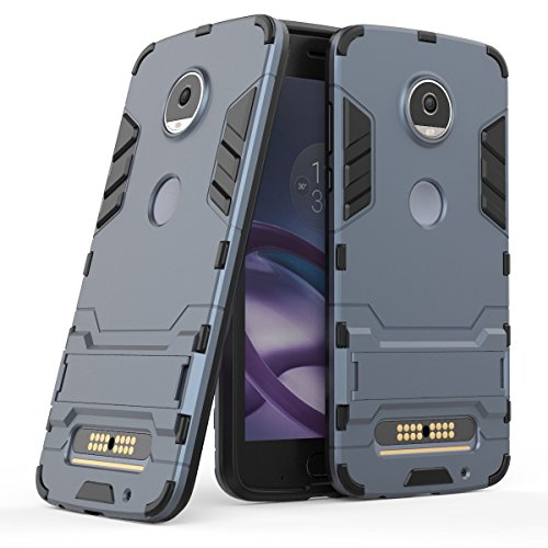 """Coque Moto Z2 Play SsHhUu Stoßsichere Dual Layer Hybrid Tasche Schutzhülle mit Ständer für Motorola Moto Z2 Play 2017 / Moto Z Play (2nd gen) / XT1710 (5.5"""") Bleu Noir"""