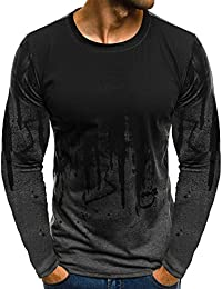 ALIKEEY Men 'S Slim Gradiente Camiseta De Manga Larga De Manga Larga Hombres Gradiente Beefy Músculo Sólido Básico Blusa T - Shirt Top