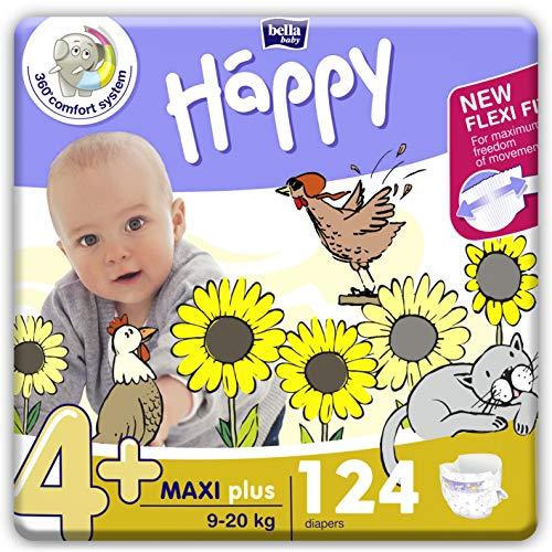 bella baby Happy Windeln für Babys Gr. 4+, 9-20 kg, im Monatspack mit perfekter Passform und maximalem Schutz - 124 Stück