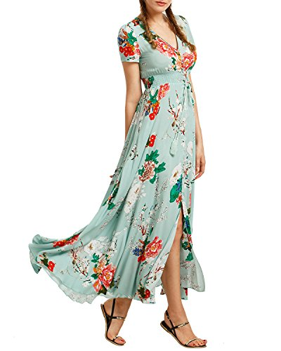 KUONUO Femme Robe Floral Longue Col V à Fleur Manches Courtes en Coton Bohême Robe Maxi de Plage D'été Casual