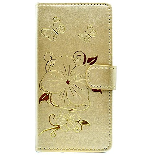 iPhone Case Cover IPhone 7 Plus Cas, Fleurs Papillon motif Dorure Case Wallet Stand Case Horizontal Flip Case PU Housse en cuir TPU pour Apple IPhone 7 Plus 5.5 pouces ( Color : Yellow , Size : IPhone Gold