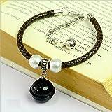 Ari_Mao Leder Katze Halskette Katzenhalsband mit Glocken und Perle für Haustier (schwarz XS)
