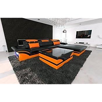 High Quality Designer Leather Sofa Parma L Black Orange