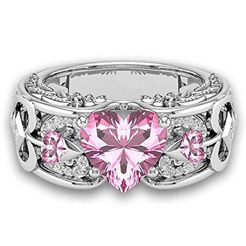Liquidazione offerte, fittingran anelli ali clearance, pietre preziose naturali rubino anelli birthstone anelli di fidanzamento fedi regalo gioielli (8, rosa)