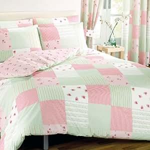 Vintage Chic Floral Patchwork Print Design Reversible Bedding Duvet Quilt Cover Set, Pink - King Size