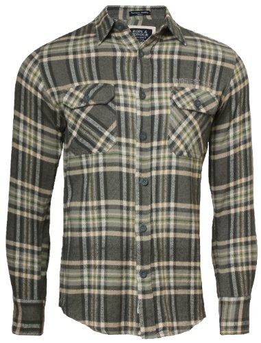 Hope & Honour Shirt à manches longues pour homme KMO401, Gris, Large