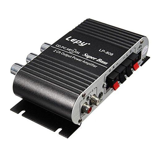 Car amplifier - lepy mini auto casa amplificatore stereo hifi 2 canali per mp3 ipod pc dvd cd 12v