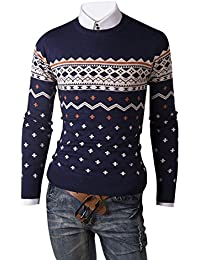 Keral Mens Leisure Pattern Decoration Long Sleeve Round Collar Sweater