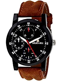 Golden Bell Original Black Dial Brown Leather Strap Analog Wrist Watch For Men - GB-914
