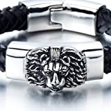 Geflochtenes Leder-Armband für Herren mit Edelstahl Löwe und Schwarz Echtes Leder Biker Armband - 5