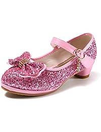 anbiwangluo Zapatos de Lentejuelas de Niña Zapatos de Tacón Alto de Princesa Zapatos de Fiesta de