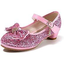 Tacón de Zapatos de anbiwangluo Zapatos de Princesa Alto Zapatos de de Lentejuelas Niña de Fiesta R0qSwCxq