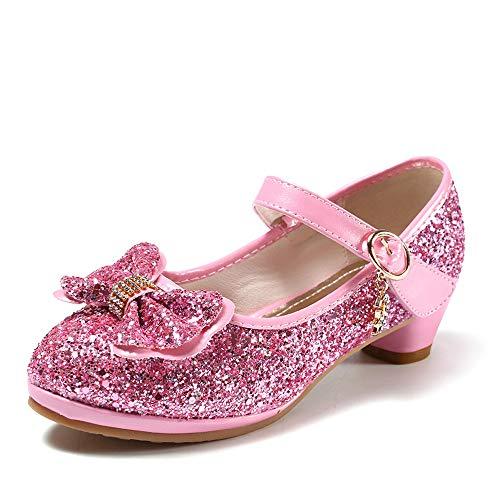 anbiwangluo Scarpe con Paillettes da Ragazza Scarpe con Tacco Alto da Principessa Décolleté per Bambini 27 EU/Dimensione dell'Etichetta 28 Rosa