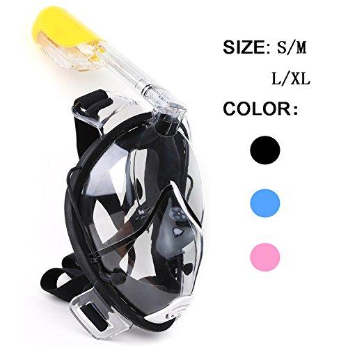 Winline - Schnorchel Maske 180° Grad Panorama – Vollgesichts- Frei Atmen- Design-Schnorchel Maske Tauchmaske - MEHR Anti-Antibeschlag und Anti-Leck - 2 eingebaute Atemschläuche - Eingebaute Ohrstöpsel(Schwarz, S/M)