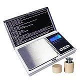 GungG MS-S - Bilancia digitale di precisione da cucina/da tasca + peso di calibrazione, 300g/0,01g
