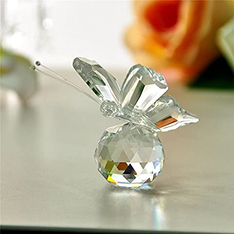 Effacer Figurines en verre cristal butterfuly Artisanat Art Collection Paperweight Table Car Ornements Décoration de mariage
