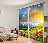 H&M Gardinen Vorhang Regenbogen Schatten Tuch UV EIN warmes Schlafzimmer Fensterdekoration 3D-Druck Vorhangstoff fertig, Wide 2.03x high 2.41