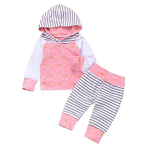 Bébé Ensemble de Vêtements,LMMVP Bébé Enfant Garçon Fille Dessus à Capuche Imprimé à Manches Longues Crown Dot + Pantalons Vêtements 0-24 mois (100(16-18M), rose)