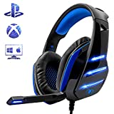Beexcellent - Auriculares para PS4, Surround Bass Sound Professional con micrófono y luz LED para...