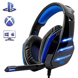 Beexcellent Micro Casque Gaming PS4, Casque PC Ultra-Léger Stéréo Lumière Stéréo Bass Anti-Bruit LED lumière avec 3.5mm Connecteur Compatible Xbox One Laptop Tablette et Tous Les Smartphone (Bleu)