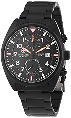 Swiss Military Hanowa AIRBORNE Chrono - Reloj Analógico de Cuarzo para Hombre, correa de Acero inoxidable chapado color Negro de Swiss Military Hanowa