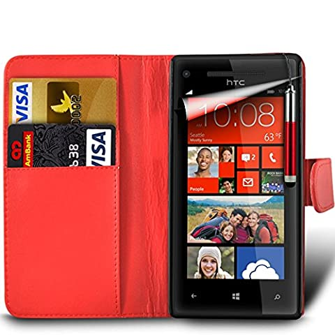 Samsung Galaxy A7 2nd Gen / SM-A717 (2016) Premium PU Leather Wallet Flip Skin Case Cover in RED with RETRACTABLE Capacitive Stylus Touch Screen Pen