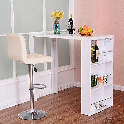 Costway Bartisch Stehtisch Bistrotisch Küchenbartisch Tresentisch Esstisch mit Stauraum