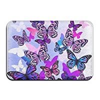 LAMUCH Soft Door Mats Purple Blue Pink Butterfly Bathroom Rugs Non Slip Bath Mat for Bathroom Kitchen Bedroom