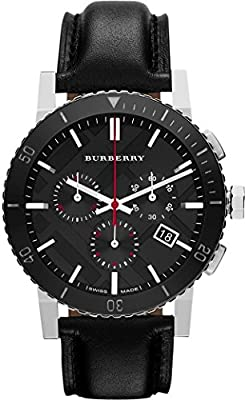 Burberry BU9382 Men's 42mm Black Leather Band Steel Case S. Sapphire Swiss Quartz Chronograph Watch