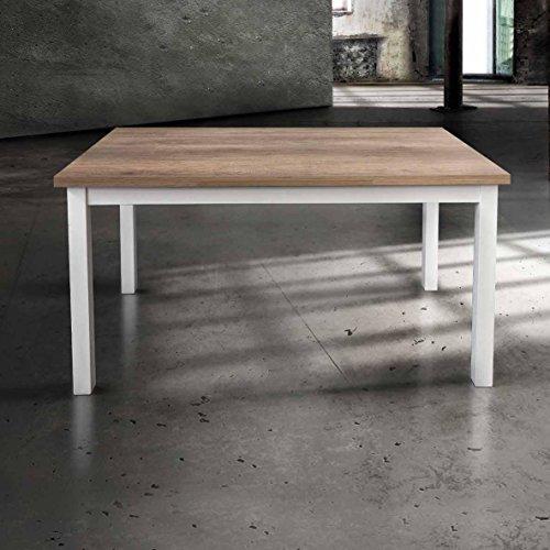 InHouse srls Table en Bois avec Pied en Metal cm. 110X70 avec 2 rallonges cm. 40; avec rallonges cm 190x70