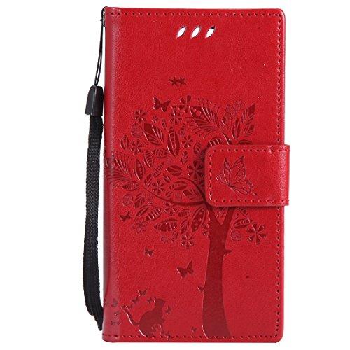 Chreey Huawei Mate 10 Pro Hülle, Prägung [Katze Baum] Muster PU Leder Hülle Flip Case Wallet Cover mit Kartenschlitz Handyhülle Etui Schutztasche [Rot]