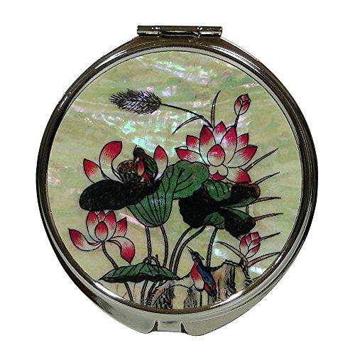 Mère de perle rose fleur de lotus feuille oiseau bleu rond grossissant double Compact Sac à Main Sac à Main Poche Maquillage Miroir à main