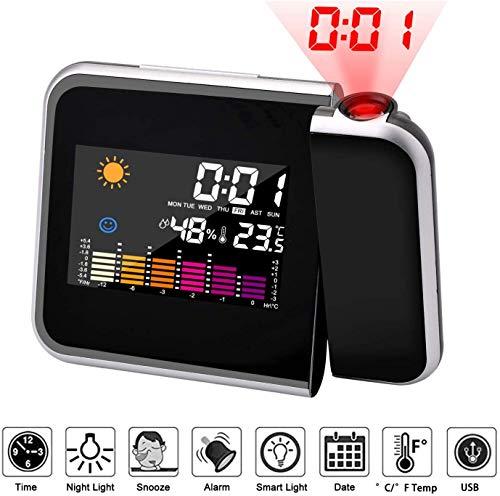 Mmester Reloj de proyección Digital,LED Alarma, Reloj Modern Reloj Despertador Colourful Pantalla LCD...