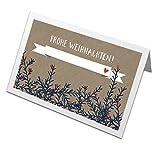 50 Tischkarten Frohe Weihnachten! im Vintage Design mit Zweigen & Beeren, Beige, Recyclingpapier Weihnachtstischkarten, Platzkarten zum beschriften für die Weihnachtsfeier, CO2 neutral