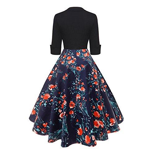 iBaste Robe de soirée Cocktail Rétro Vintage année 50 Style Audrey Hepburn Rockabilly Swing avec 1/2 Manches 14